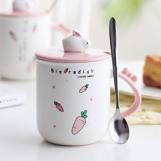 Cartoon Glass Cup with Lid & Spoon 1064786595