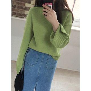 Drop-Shoulder Slit-Sleeve Knit Top 1057705906