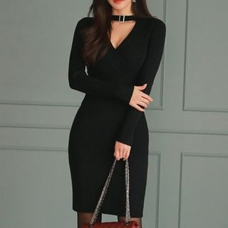 Choker Rib Knit Sheath Dress 1062311649