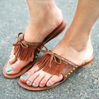 Picture of Jean Stone Fringed Thong Sandals 1022816733 (Sandals, Jean Stone Shoes, Korea Shoes, Womens Shoes, Womens Sandals)