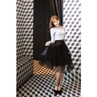 Ruffled Tulle-Overlay Skirt