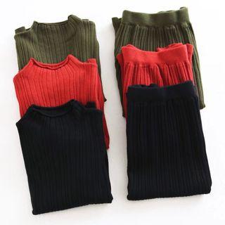 Set: Ribbed Long-Sleeve Knit Sweater + Pleated Mini Skirt 1062148369