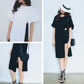 Short Sleeve Side Slit Long T-Shirt 1050670010