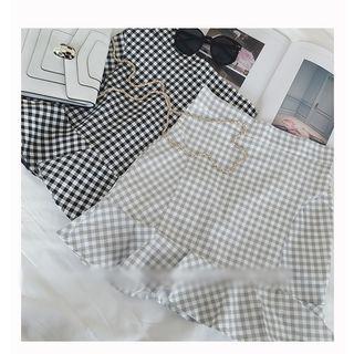 Plaid Ruffle Hem Mini Skirt 1058600745