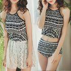 Set: Printed Tankini + Lace Swim Skirt 1596