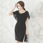 Chiffon-Sleeve Sheath Dress 1596