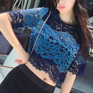 Short-Sleeve Lace Top Blue - One Size 1053125910
