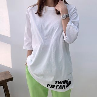 Image of 3/4-Sleeve Letter-Printed T-Shirt