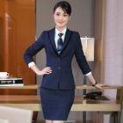 Blazer / Vest / Dress Pants / Pencil Mini Skirt / Shirt / Set 1596