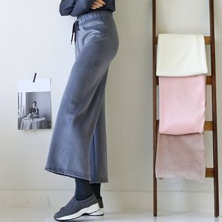 Drawcord Ribbed Wide Pants