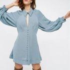 Puff-sleeve Plain Sheath Dress 1596