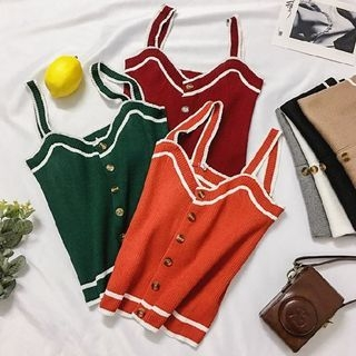 Piped Sleeveless Top 1065589263