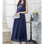 Plain Sleeveless Chiffon Dress 1596