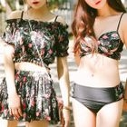 Set : Floral Print Bikini + Cover-up + Skirt 1596