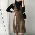 Set: Turtle-Neck Ribbed Knit Top + Sleeveless Houndstooth Slit-Side Dress 1596