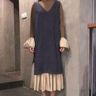 Set: Mock-Neck Long-Sleeve Midi Dress + V-Neck Corduroy Pinafore Dress 1596