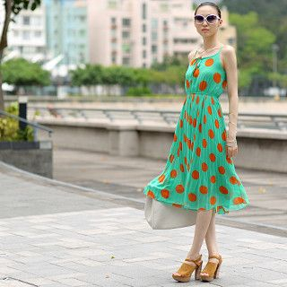 Polka Dot Pleated Midi Dress Green - One Size