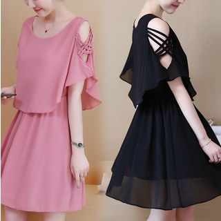Image of Cape-Sleeve Chiffon A-Line Mini Dress