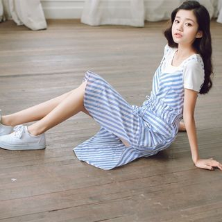 Set: Short-Sleeve T-Shirt + Strappy Striped Dress 1054946895