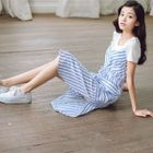 Set: Short-Sleeve T-Shirt + Strappy Striped Dress 1596