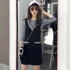 Set: Striped T-Shirt + V-Neck Pinafore Dress 1596