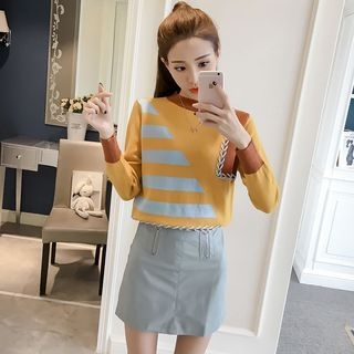 Set: Striped Trim Color Block Sweater + Faux-Leather A-Line Skirt 1062795722