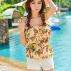 Set: Ruffle Floral Tankini Top + Swim Skirt 1596