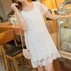Short-Sleeve Lace Maternity Dress 1596