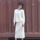 Set: Striped Sweater + Striped Knit Midi Skirt 1596