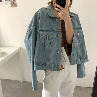 Image of Cropped Denim Jacket Denim Blue - One Size