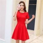 Short-Sleeve Cutout Plain A-Line Dress 1596