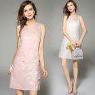 Sleeveless Applique Silk Dress 1596