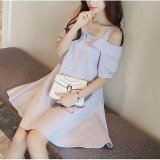 Strappy Off-Shoulder Babydoll Dress 1051532544