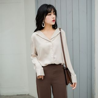 Valus V-Neck Collared Long Sleeve Blouse