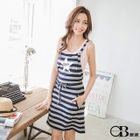 Drawstring Star-Print Striped Jumper Dress 1596