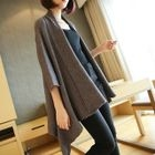 Ribbed 3/4 Sleeve Long Cardigan 1596