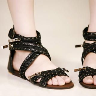 Buy Kvoll Genuine Leather Studded Zipper Sandals 1022990428