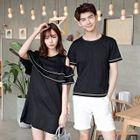 Couple Matching Contrast Trim Short Sleeve T-Shirt / Cut Out Shoulder Short Sleeve Dress 1596