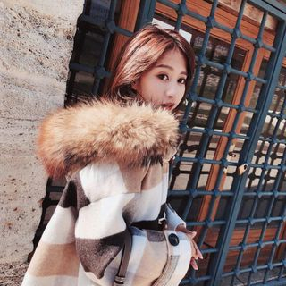 Image of Long Furry-Trim Hooded Duffle Coat