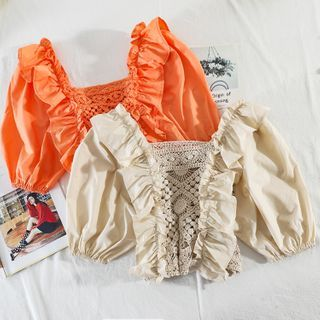 Image of Crochet Knit Short-Sleeve Blouse