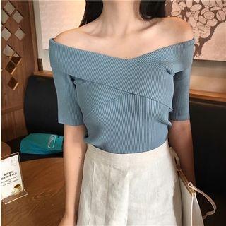 Ribbed Off-Shoulder Short-Sleeve Top 1061889483