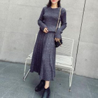 Set: Ribbed Knit Sweater + Pleated Midi Knit Skirt 1596