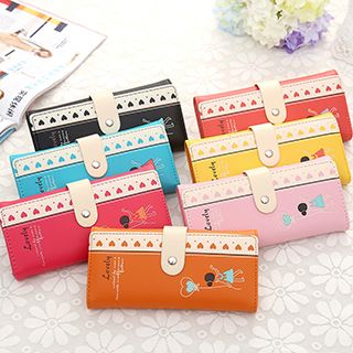Heart-Print Long Wallet
