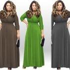 V-Neck 3/4 Sleeve Maxi Dress 1596