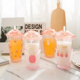 Printed Cup with Lid and Straw 1065536144