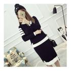 Set: Striped Sweater + Knit Skirt 1596