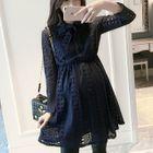 Maternity Tie-Neck A-Line Lace Dress 1596