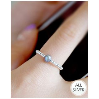 Freshwater-Pearl Silver-Ball Chain Ring