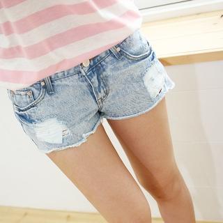 Buy SDKING Distressed Denim Shorts 1022554989