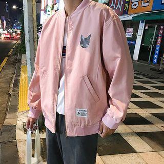 Image of Cat Print Bomber Jacket